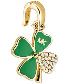 14k Gold-Plated Cubic Zirconia Four-Leaf Clover Charm