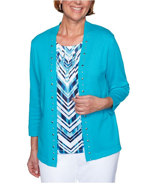 Alfred Dunner Easy Street Layered-Look Studded Top