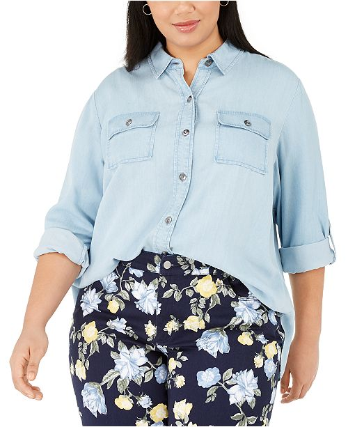 Charter Club Plus Size Chambray Utility Shirt, Created For Macy's