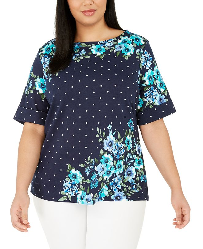 Karen Scott Plus Size Printed Elbow-Sleeve Top, Created for Macy's