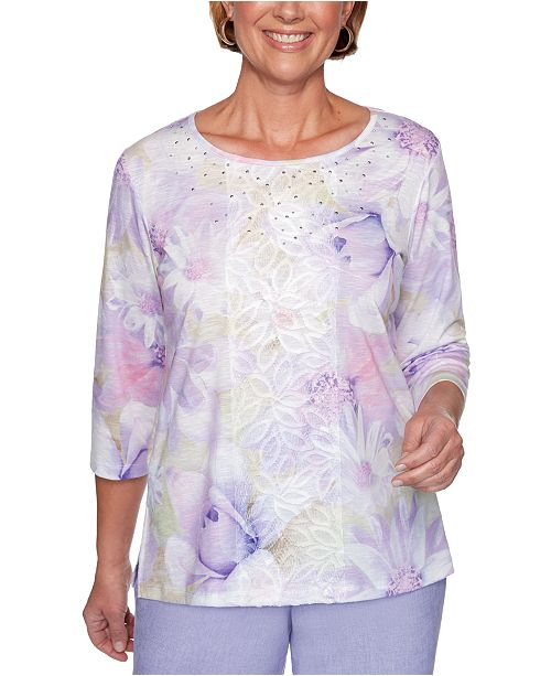 Alfred Dunner Nantucket Printed Center-Lace Embellished Top