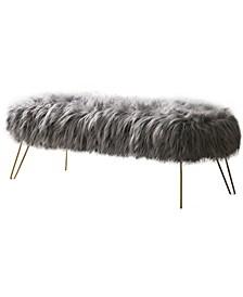 Posh Habitat by Modern Faux Fur Long Bench Ottoman