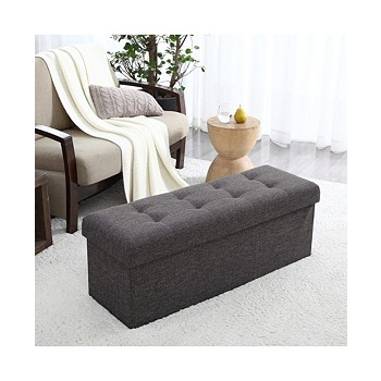 Ornavo Foldable Linen Tufted Large Bench Storage Ottoman