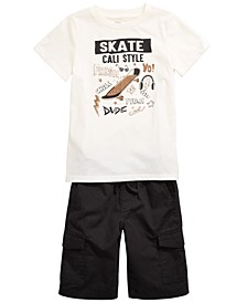 Toddler Boys Cali Style T-Shirt & Black Textured Canvas Cargo Shorts, Created for Macy's