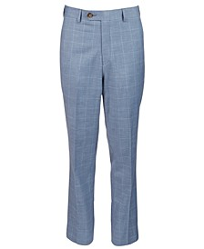 Big Boys Classic-Fit Blue Windowpane Suit Pants