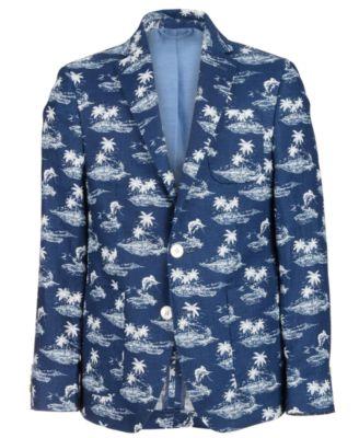로렌 랄프로렌 Lauren Ralph Lauren Big Boys Classic-Fit Navy Tropical-Print Linen Blazer,Navy/White