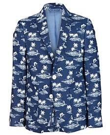Big Boys Classic-Fit Navy Tropical-Print Linen Blazer