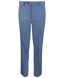 Big Boys Classic-Fit Stretch Blue/Brown Mini-Check Suit Pants