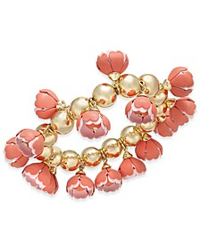 INC Gold-Tone 3D Flower Stretch Bracelet, Created for Macy's
