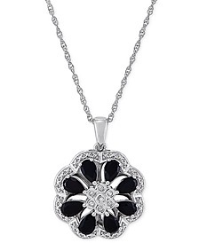 "Onyx & Diamond (1/20 ct. t.w.) Floral Disc 18"" Pendant Necklace in Sterling Silver"