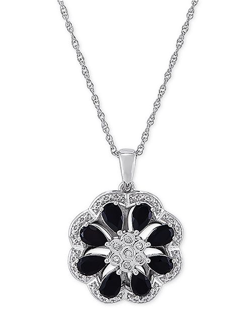 """Macy's Onyx & Diamond (1/20 ct. t.w.) Floral Disc 18"""" Pendant Necklace in Sterling Silver"""