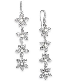 INC Silver-Tone Crystal & Imitation Pearl Flower Linear Earrings, Created for Macy's