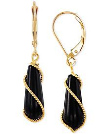 Onyx Wire-Wrap Leverback Drop Earrings in 10k Gold