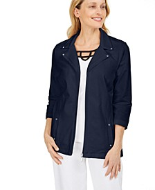 French Terry Notched-Collar Jacket, In Regular and Petite, Created for Macy's