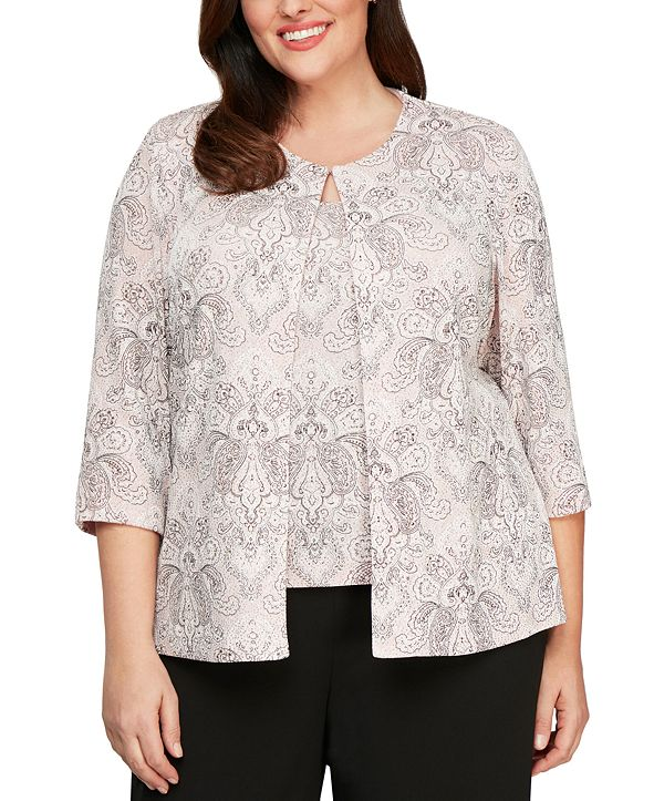 Alex Evenings Plus Size Printed Jacket and Top
