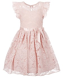 Little Girls Ruffle Sleeve Lace Dress