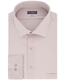 Men's Big&Tall Classic/Regular Fit Non-Iron Flex Collar Stretch Washed Sand Check Dress Shirt