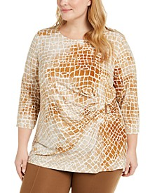 Plus Size Printed Scoop-Neck Ruched Top
