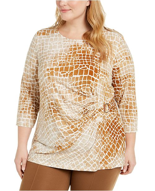 Calvin Klein Plus Size Printed Scoop-Neck Ruched Top