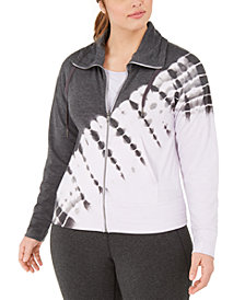Ideology Plus Size Printed Zip-Front Jacket, Created for Macy's