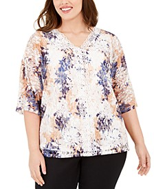 Plus Size Crochet-Trim Lace Top