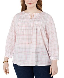 Plus Size Crinkle Plaid Tie-Neck Top
