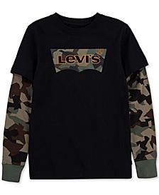 Big Boys Layered-Look Camo Batwing Logo T-Shirt