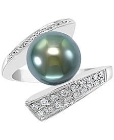 EFFY® Cultured Black Tahitian Pearl (10mm) & Diamond (1/4 ct. t.w.) Statement Ring in 14k White Gold