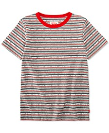 Big Boys Stripe Logo Graphic Ringer T-Shirt