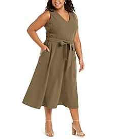 Plus Size Side-Button A-Line Dress