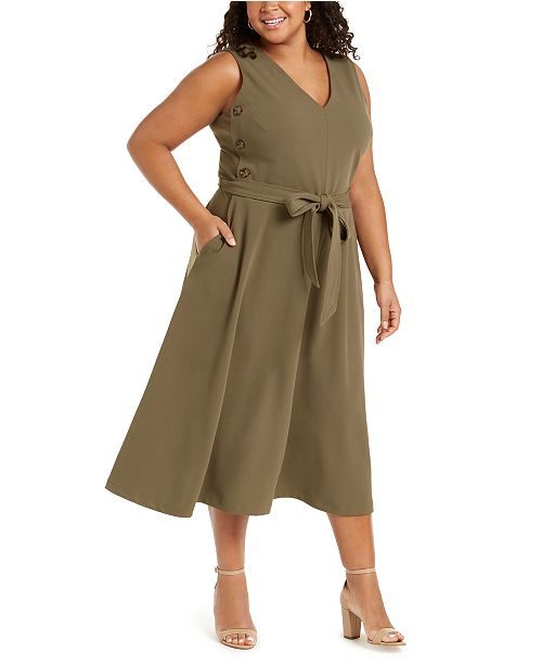 Calvin Klein Plus Size Side-Button A-Line Dress