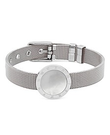 Ladies Stainless Steel Mesh Adjustable Bracelet with Roman Numeral Accents