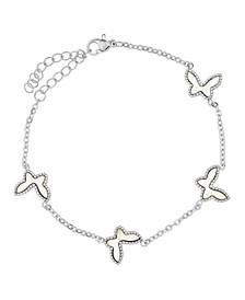Stainless Steel Butterfly Link Bracelet with Butterflies