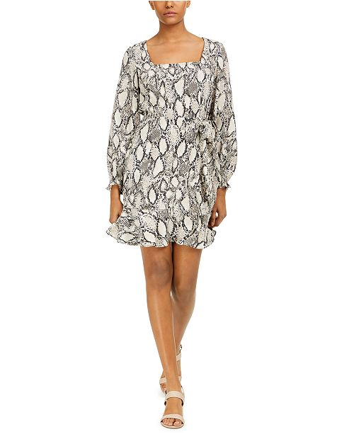 Bar III Square-Neck Printed Dress, Created for Macy's