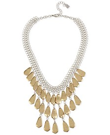 """Two-Tone Sculptural Mesh Shaky Statement Necklace, 16"""" + 2"""" extender"""