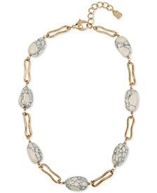 """Gold-Tone Link & Stone Beaded Collar Necklace, 16-1/2"""" + 2"""" extender"""