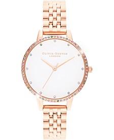 Women's Rainbow Rose Gold-Tone Stainless Steel Bracelet Watch 34mm