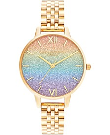 Women's Rainbow Gold-Tone Stainless Steel Bracelet Watch 34mm