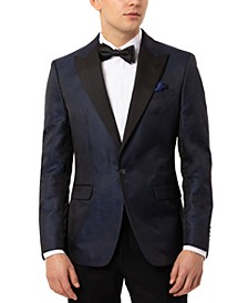 Orange Men's Slim-Fit Navy Blue Snakeskin-Pattern Evening Jacket