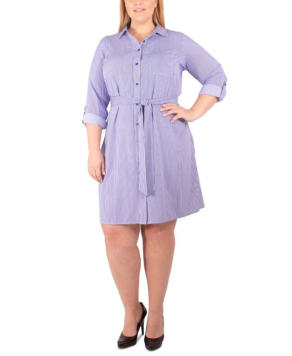 NY Collection Plus Size Belted Woven Shirtdress