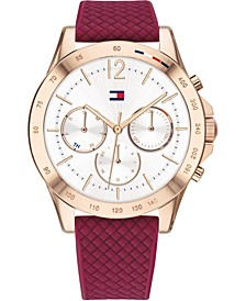 Women's Red Silicone Strap Watch 38mm, Created for Macy's