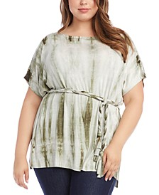 Plus Size Belted Tie-Dyed Tunic Top