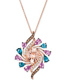 "Multi-Gemstone (3-3/4 ct.t.w.) & Diamond (1/3 ct. t.w.) 18"" Pendant Necklace in 14k Rose Gold"