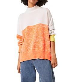 Mock-Neck Colorblocked Top