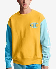 Men's Colorblocked Logo Script Sleeve Sweatshirt