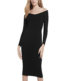 Aly Ribbed Off-The-Shoulder Sweater Dress