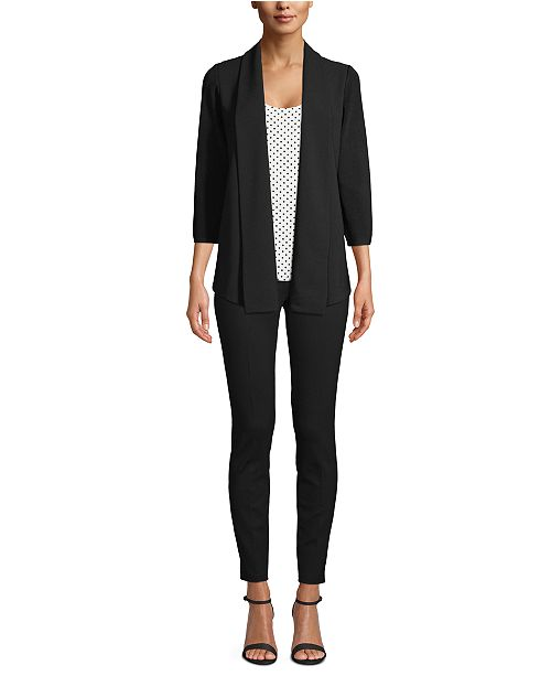 Anne Klein Mixed Media Open-Front Cardigan