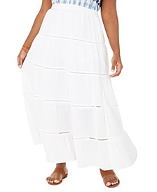 Plus Size Cotton Tiered Maxi Skirt, Created for Macy's