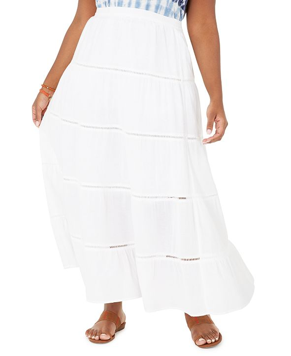 Style & Co Plus Size Cotton Tiered Maxi Skirt, Created for Macy's