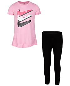 Little Girls 2-Pc. Triple Swoosh T-Shirt & Bubble Leggings Set